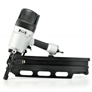 Large 22 degree nailer gun for shooting long nails and spikes into hardwood.