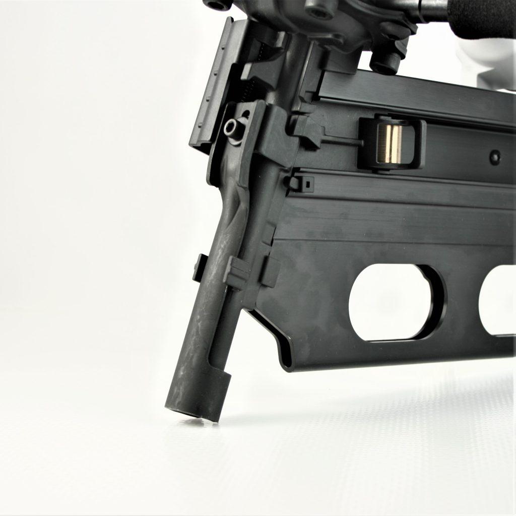 Large 22 degree nailer gun for shooting long nails and spikes into hardwood.